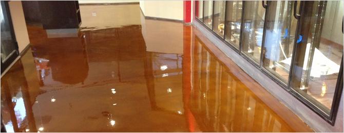 Epoxy acid stain floor